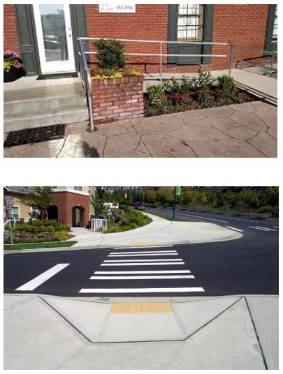compliant ramp and Ramp down to street level for cross walk.