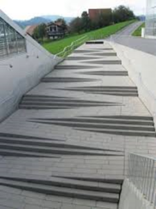 modern and artistic way to incorporate both stairs and ramps.