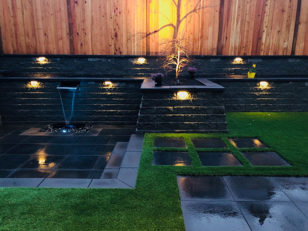 Retaining wall, water feature, lights