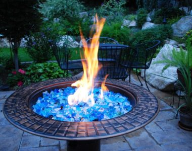 Fire pit filled with fire glass