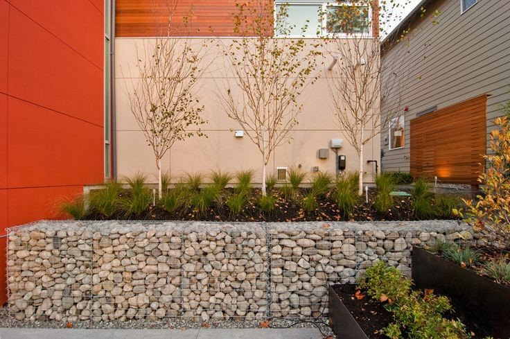 A photo of a rock retaining wall with trees and grasses planted inside.