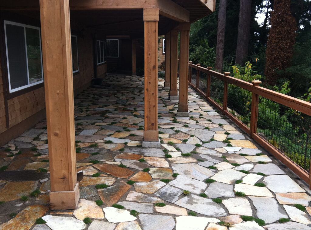 A photo of a stone patio.