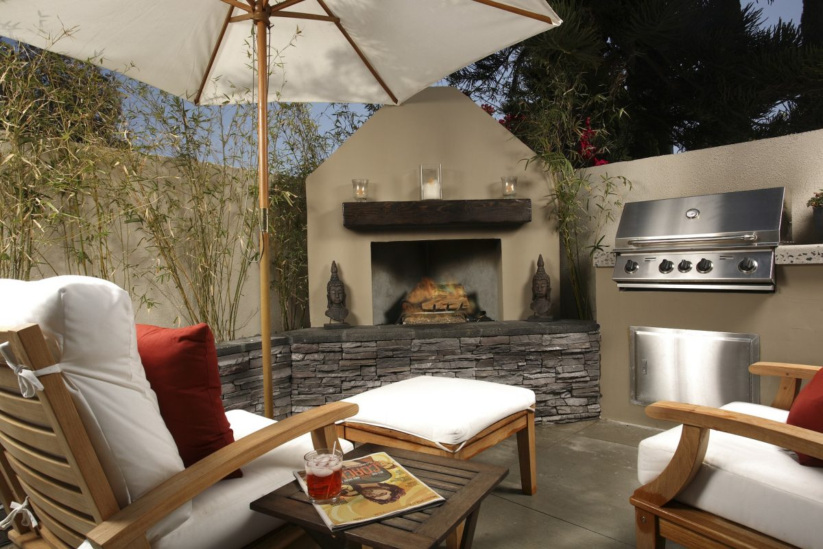 Outside fireplace patio