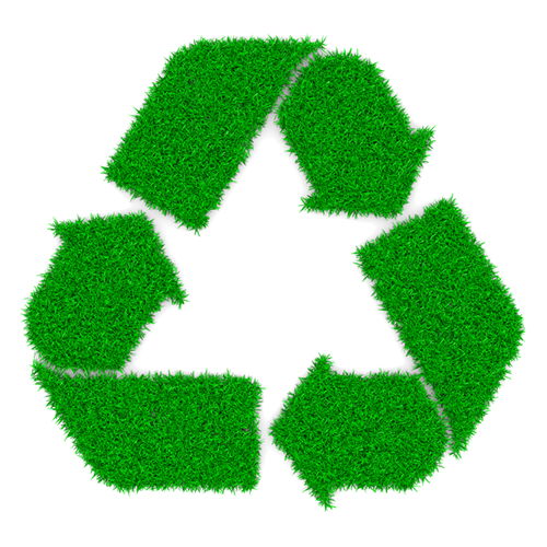 A recycling symbol with a grass texture.